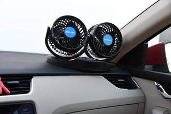 Ventilátor do auta dvojitý 12V, průměr 13cm s teploměrem