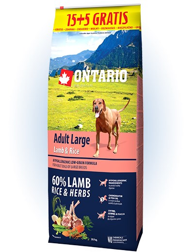 Ontario Adult Large Lamb & Rice - 15 + 5kg