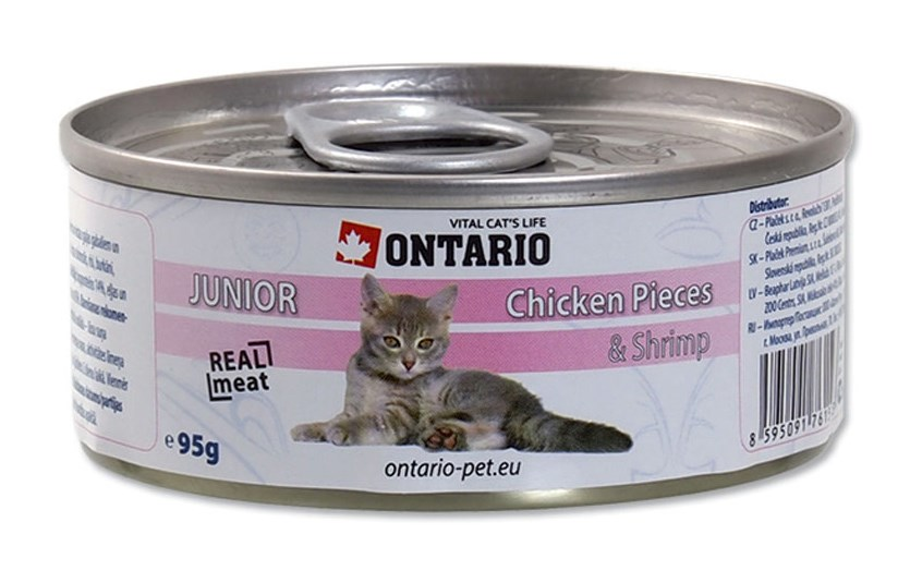 ONTARIO konzerva junior Chicken Pieces + Shrimp 95 g