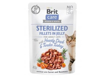 Brit Care Cat Sterilized. Fillets in Jelly with Hearty Duck & Tender Turkey 85g