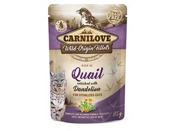 Carnilove Cat Pouch Rich in Quail Enriched with Dandelion for sterilized 85g