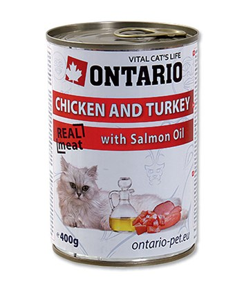 ONTARIO konzerva Chicken, Turkey, Salmon Oil 400g