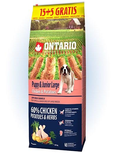 Ontario Puppy & Junior Large Chicken & Potatoes - 15 + 5kg