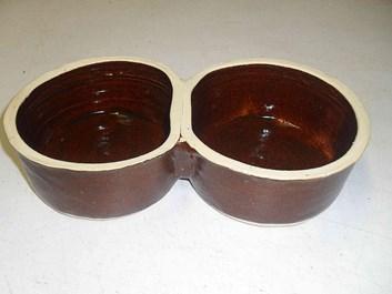 Keramická dvoumiska velká - průměr 13 cm