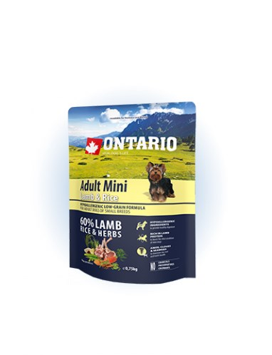Ontario Adult Mini Lamb & Rice - 0,75 kg