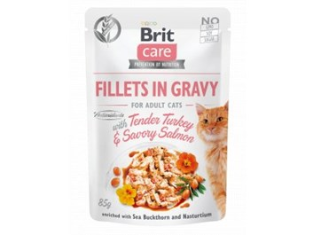 Brit Care Cat Fillets in Gravy with Tender Turkey & Savory Salmon 85g