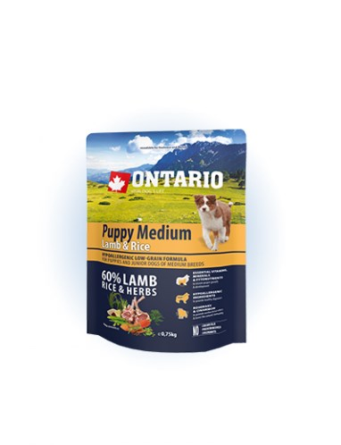Ontario Puppy Medium Lamb & Rice - 0,75 kg
