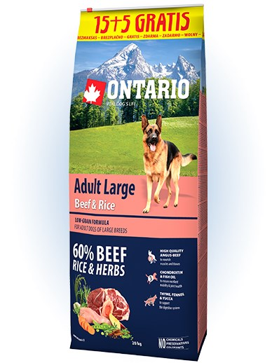 Ontario Adult Large Beef & Rice - 15 + 5 kg