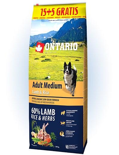 Ontario Adult Medium Lamb & Rice - 15 + 5kg