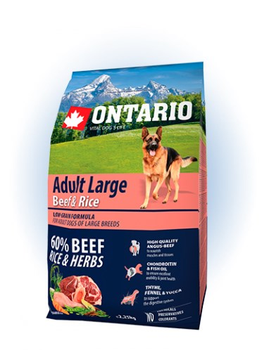 Ontario Adult Large Beef & Rice - 12KG - 2,25