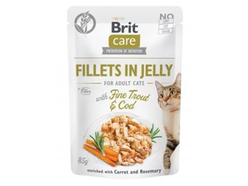 Brit Care Cat Fillets in Jelly with Fine Trout & Cod 85g