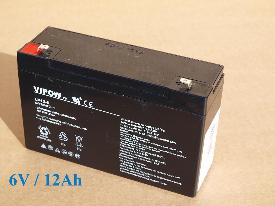 Baterie gelová VIPOW 6V/12Ah/20HR