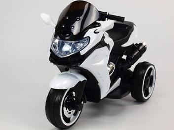 Motorka - Tricykl Dragon s mohutnými výfuky,motory 2x12V,digiplayer USB,Mp3,voltmetr,LED osvětlení , bílá