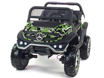 Dětský elektrický džíp Mercedes Benz Unimog, dvoumístný maskáč SLOŽENÝ