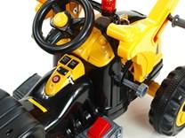Dětský elektrický traktůrek Kingdom se lžící - žlutá