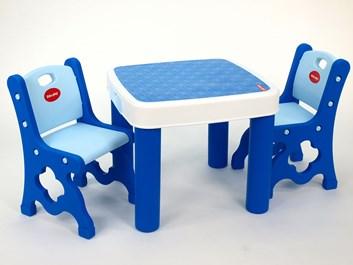 Set dětský stolek se židličkami - modrý - poslední 2 kusy