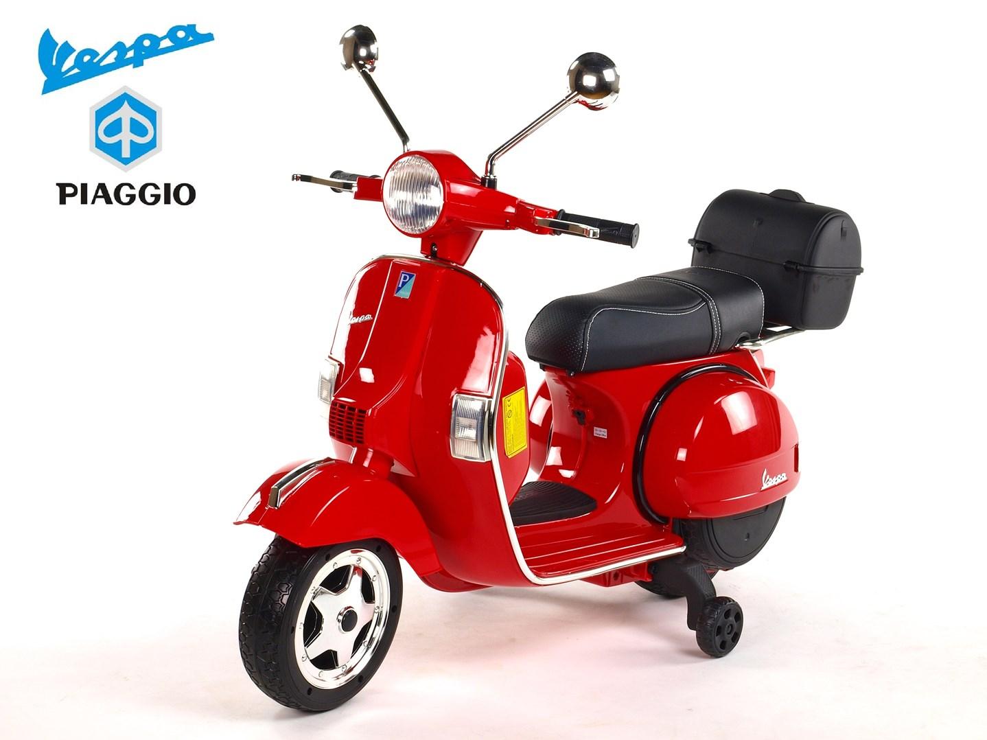 Dětský elektrický  skútr Piaggio Vespa lakovaná červená