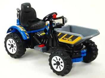 Dětský elektrický traktor Kingdom s přední vanou -  modrý