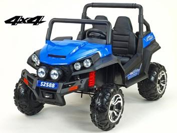 Dětská elektrická dvoumístná buggy V-Twin 4x4 s 2.4G dálkovým ovládáním, modrá