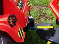 Dětský elektrický traktor 12V s 2,4G dálkovým ovládáním, mohutnými koly   žlutý