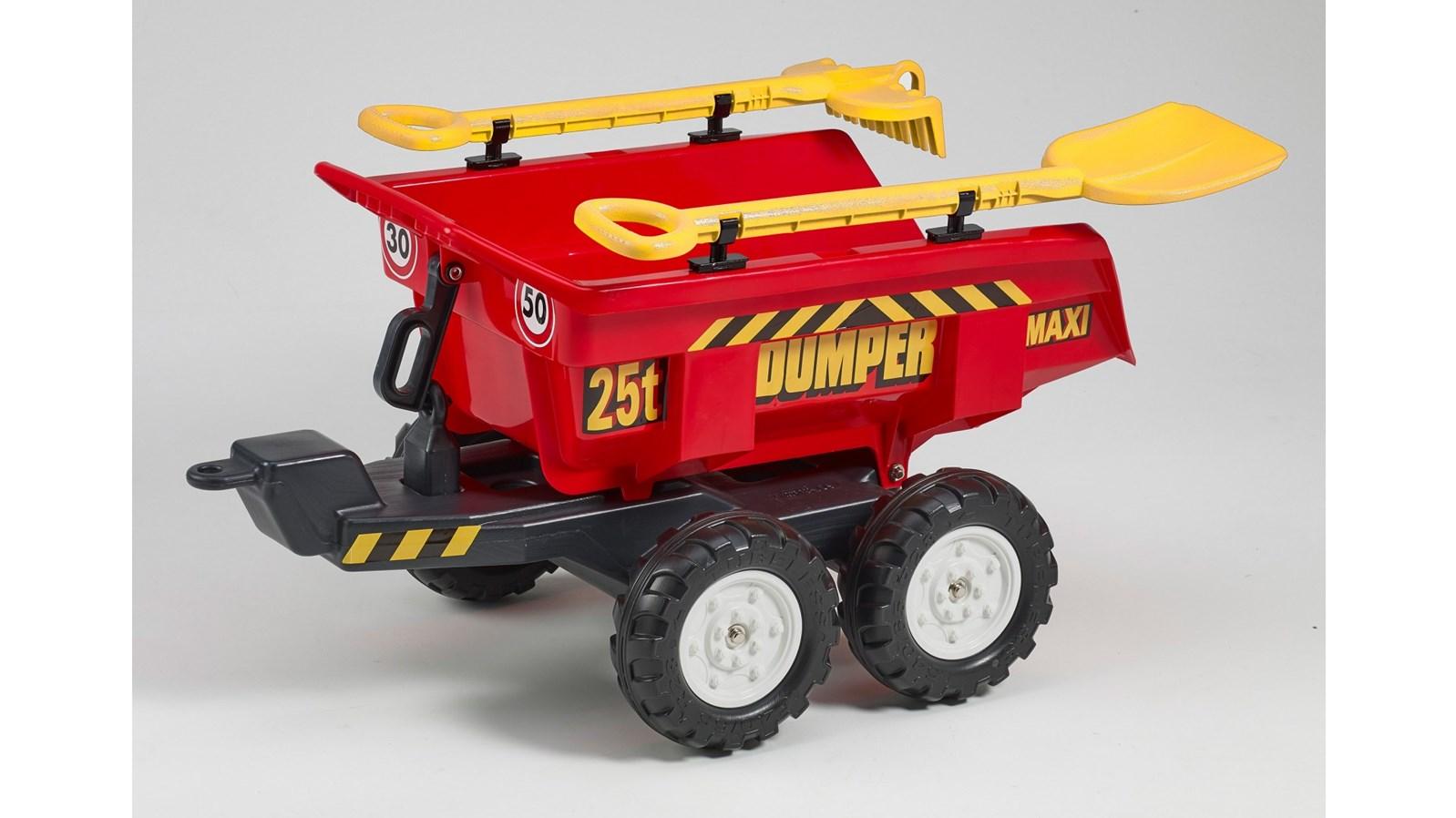 Vlek za traktor veliký, výklopný, dvounápravový s nářadím , délka 87cm