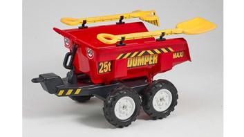 Vlek za traktor dvounápravový s nářadím , výklopný , délka 87cm červený