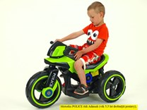 Dětská elektrická motorka VELKÁ 101cm s měkkými EVA koly,  SW198EVA.green