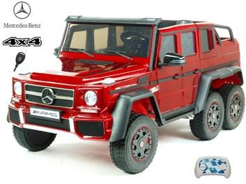 6-ti kolový Mercedes G63 AMG 4x4, dvoumístný lakovaný, s 2.4G DO lakovaná červená