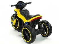 Dětská elektrická motorka VELKÁ 101cm s měkkými EVA koly,  SW198EVA.yellow