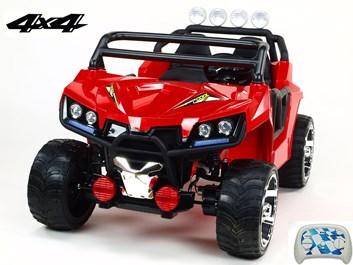 Dvoumístná Buggy Cool sport 4x4, náhon 4 EVA kol, s 2.4G DO, USB, TF, Mp3, čalouněnou sedačkou 54cm, nádherným LED osvětlením, červená
