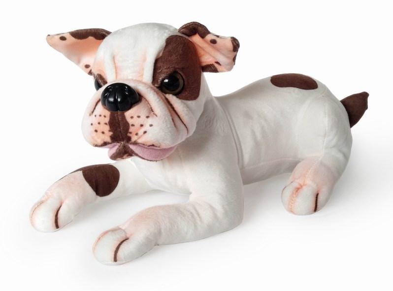 Plyšový pes Buldog ležící