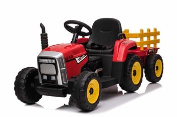 Dětský el.traktor s vlekem  s 2,4G dálkovým ovladačem - červený