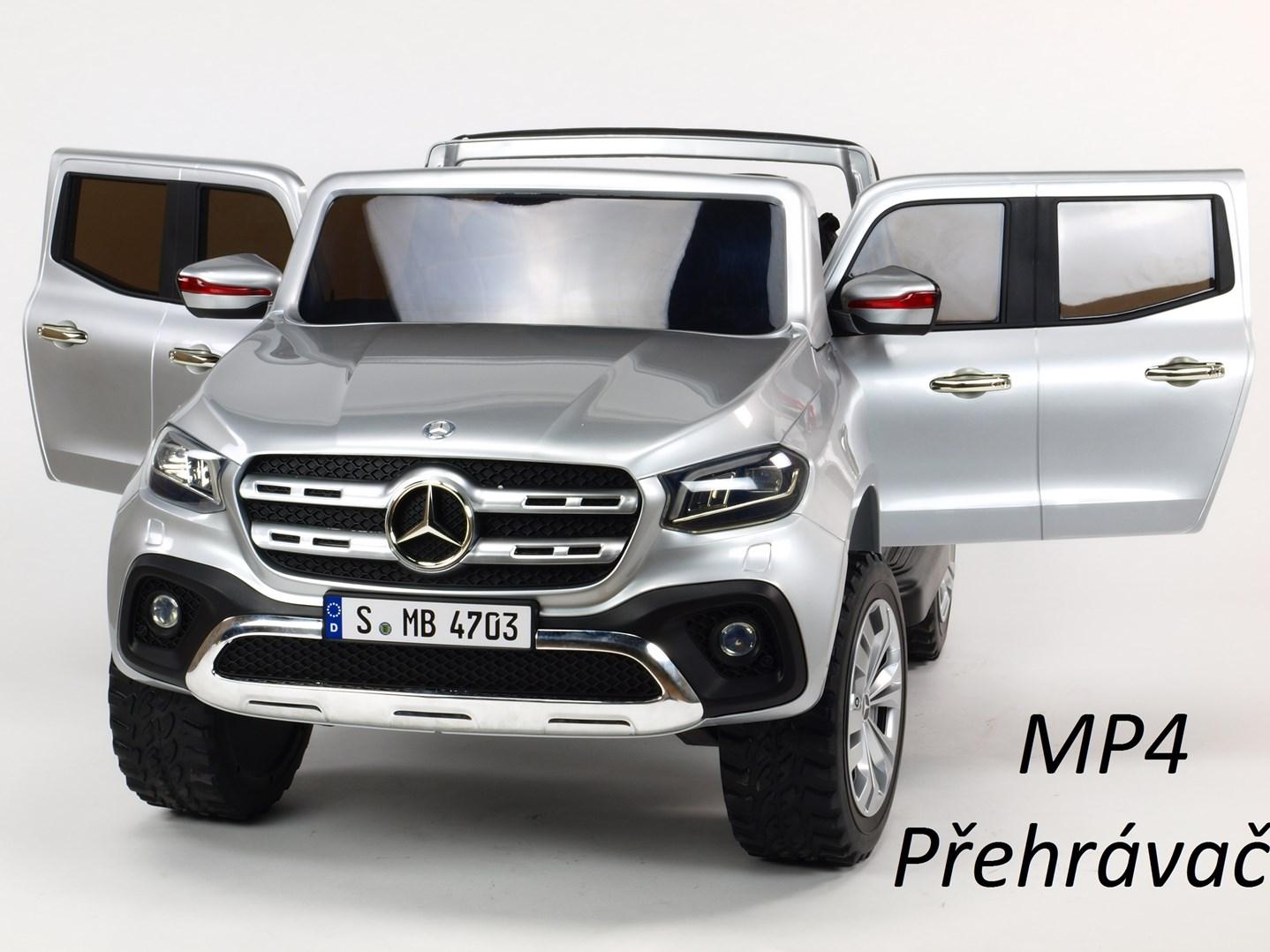 Mercedes  Benz X-Class 4x4, dvoumístný pick up s 2.4G DO, plynulým rozjezdem,USB,Mp4 přehrávač, čalouněním, EVA koly  XMX606.silver