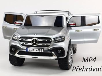 Mercedes  Benz X-Class 4x4, dvoumístný pick up s 2.4G DO, plynulým rozjezdem,USB,Mp4 přehrávač, čalouněním, EVA koly,stříbrná