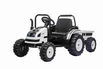 Velký dětský elektrický traktor  s vlekem s 2,4G dálkovým ovladačem , bílý