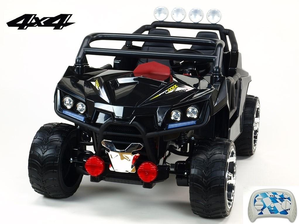 Dvoumístná  buggy  Cool sport 4x4, náhon 4 EVA kol, s 2.4G DO, USB, TF, Mp3, čalouněnou sedačkou 54cm, nádherným LED osvětlením KL2988.černá