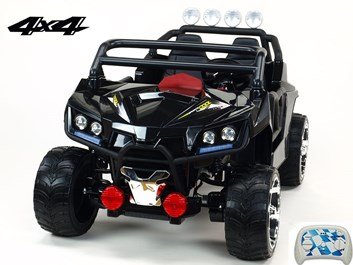 Dvoumístná Buggy Cool sport 4x4, náhon 4 EVA kol, s 2.4G DO, USB, TF, Mp3, čalouněnou sedačkou 54cm, nádherným LED osvětlením, černá