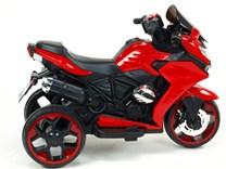 Motorka - Tricykl Dragon s mohutnými výfuky,motory 2x12V,digiplayer USB,Mp3,voltmetr,LED osvětlení , červená