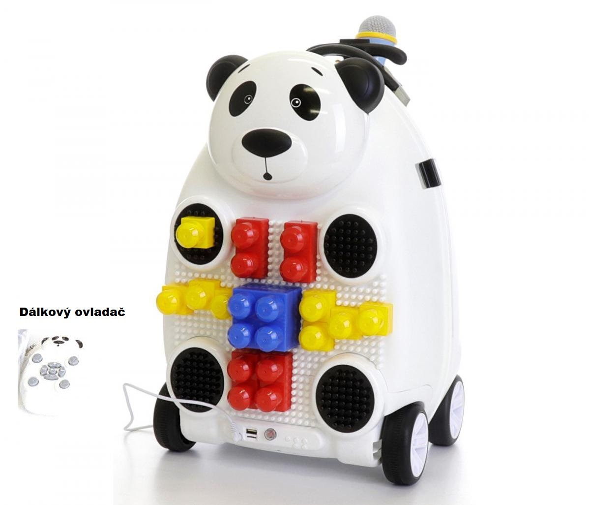Dětský cestovní kufr  PANDA s dálkovým ovladačem , mikrofonem a  stavebnicí