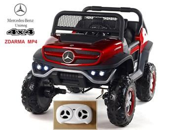 Dětský elektrický Mercedes Benz Unimog s Mp4 přehrávačem, dvoumístný červený