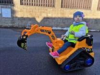 Dětský elektrický bagr -  žlutý
