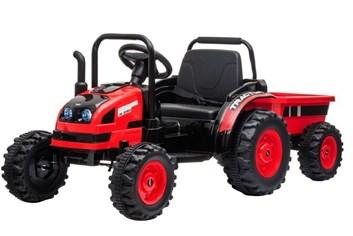 Velký dětský elektrický traktor  s vlekem s 2,4G dálkovým ovladačem , červený