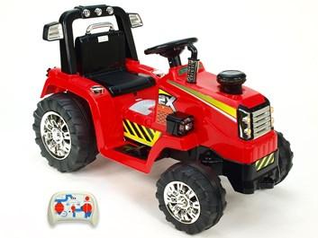 Dětský elektrický traktor 12V s 2,4G dálkovým ovládáním, mohutnými koly  červený