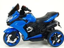 Motorka - Tricykl Dragon s mohutnými výfuky,motory 2x12V,digiplayer USB,Mp3,voltmetr,LED osvětlení , modrá
