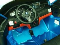 BMW X6M dvoumístné s 2,4G DO, el. brzdou, EVA koly, otvíracími dveřmi, USB, Mp3, voltmetrem, 55cm čalouněnou sedačkou JJ2168L.blue