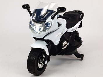 Dětská silniční závodní motorka 12V bílá SLOŽENÁ