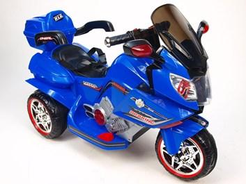 Dětská elektrická motorka, cestovní s dvěma motory modrá SLOŽENÁ