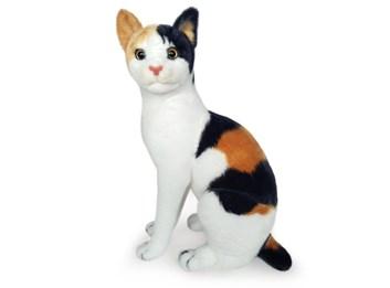 Plyšová sedící kočka tříbarevná