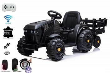 Dětský elektrický farmářský traktor s vlekem  a 2,4G dálkovým ovladačem , černý
