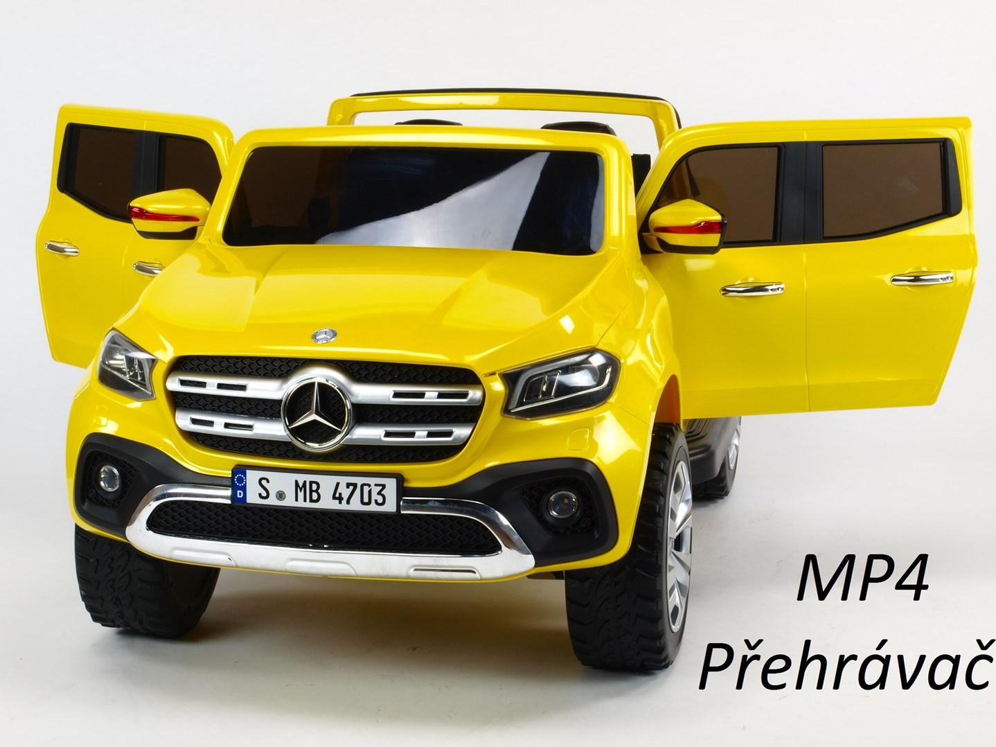 Mercedes  Benz X-Class 4x4, dvoumístný pick up s 2.4G DO, plynulým rozjezdem,USB, Mp4 přehrávač, čalouněním, EVA koly  XMX606.yellow